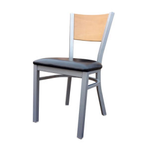 Metal Commercial Dinging Chair with Soft Cushion and Beech Wood Back