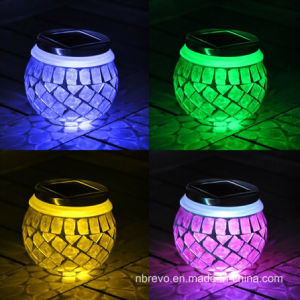 Mosaic Glass Solar Sun Jar for Decoration Green Color (RS114) pictures & photos