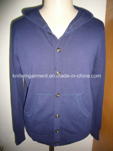 Knitted Men Sweater in Long Sleeve with Hood (0-09-017)