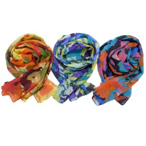 Hot Sale Lady′s Wheel Printed Voile Scarf pictures & photos