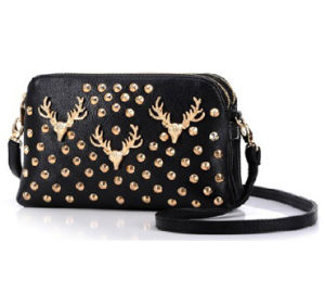 PU Leather Ladies Shoulder Bags with Gold Stups (H0413) pictures & photos