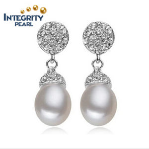 8mm AAA Grade Wholesale Drop Sterling Silver Real Fresh Water Cultured Freshwater Pearl Earring