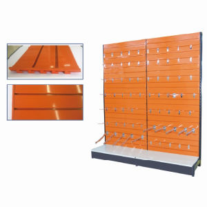 Powder Coating Supermarket Metal Slat Shelf Wall Display Shelf by Factory pictures & photos