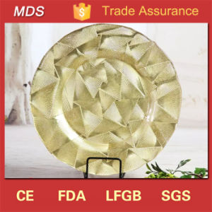 Embossed Pattern Glass Clearance Wedding Charger Plates Blush pictures & photos