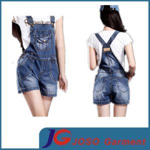 Women Leisure Suspender Jeans Shorts pictures & photos