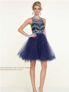 2015 Jeweled Beaded Bodice Cocktail Patry Dresses (PD9304) pictures & photos