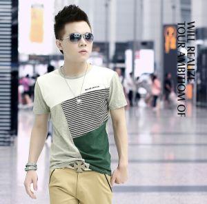 Men′s Korean Style Round Neck Stripe Casua T-Shirt pictures & photos
