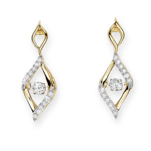 18k Yellow Gold Dangle Earrings with Dancing Diamond pictures & photos