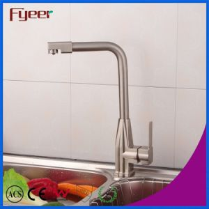 Fyeer Nickle Brushed Kitchen Sink Mixer with Swivel Spout pictures & photos