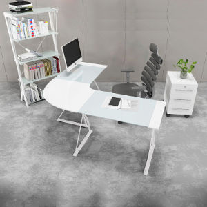 Glass L-Shape Home Study Computer Table pictures & photos