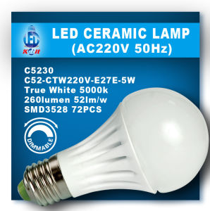 5W LED Dimmable Bulb (C32-CTW220V-E2E-5W)