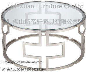 Modern Hotel Glass Stainless Steel Frame Living Room Furniture Coffee Table pictures & photos