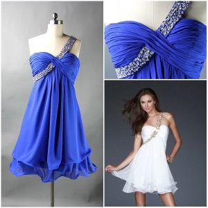 New Arrived 2012 Sexy One Shoulder Sheath Beaded Ruffle Chiffon Peacock Prom Dress (PD-14)