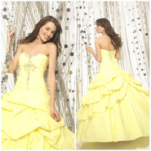 2012 Magnificent Sexy Sweetheart A-Line Sheath Jacket Ruffle Beaded Taffeta Quinceanera Dresses (QD-039)