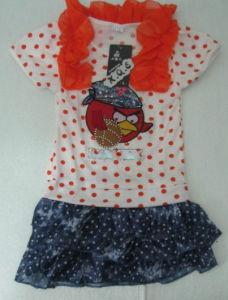 New Fashion Pretty Girl′s Dress Cartoon Birds