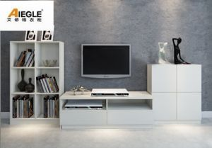 Soporte de madera blanco moderno de icd tv con el estante for Living room icd 10