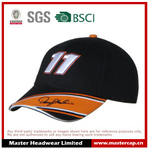Cool Style Black 6 Panels Racing Cap for Adult Size