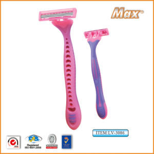 Triple Blade Stainless Steel Blade Disposable Shaving Razor (LV-3086) pictures & photos