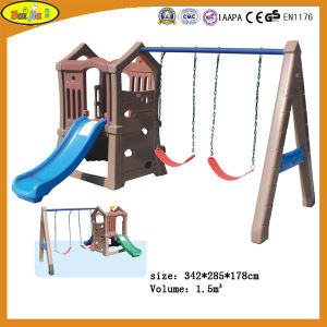 Popular Outdoor Kids Plastic Playground Slide and Swing