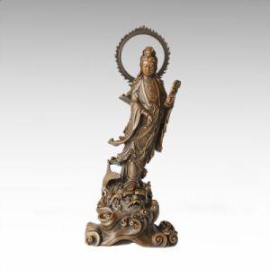 Religion Figure Bronze Sculpture Avalokitesvara Brass Buddha Tpfx-002 (J)