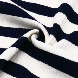 Striped Rayon Polyester Spandex Knit Fabric for Women′s Tops pictures & photos