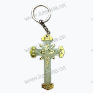 Cheap Luminous Rosary Crucifix Keychain, Cross Keyring
