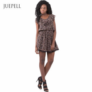 Guangzhou Print Africa Flower Chiffion Casual Women Dress pictures & photos