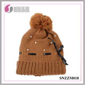 Best Design Warm Beautiful Ladies Pearl Bow Knit Hat Fur Ball Wool Cap pictures & photos