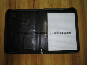 Removable Ring Binder Bound Leather Conference Presentation Folder with Notepad pictures & photos
