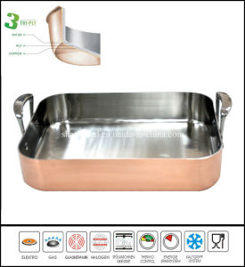 Tri Ply Copper Rectangle Pan Roast Pan pictures & photos