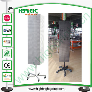 Four Sides Metal Floor Standing Rotating Pegboard Rack pictures & photos