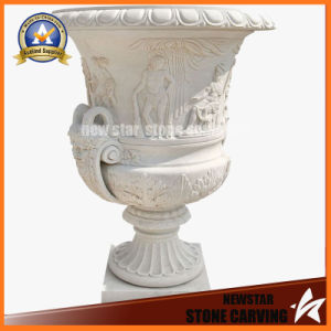 White Marble Carving Leaves and Figure Surround Flower Pot Stand (NS-11P15) pictures & photos