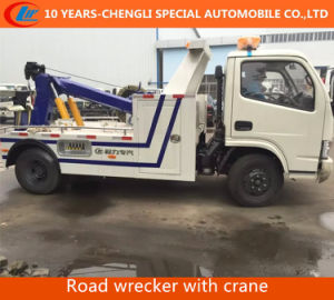 Flatbed Raod Wrecker Truck with Crane Tow Crane pictures & photos