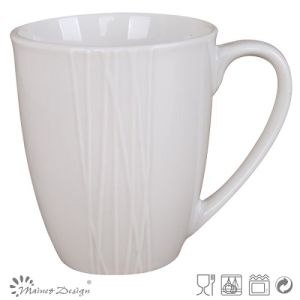 Simply Design White Porcelain Emboss Coffee Mug pictures & photos