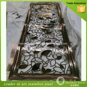 Colored Titanium Textured Stainless Steel Folding Screen Partition for restaurant Deco pictures & photos