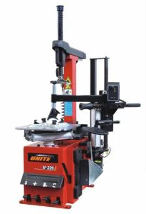 Tilting Column Type Tyre Changer with Right Helping Arm and Air Booster System