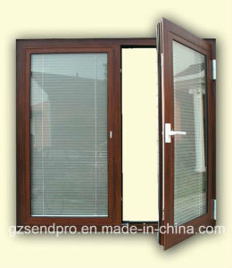 brown aluminum frame double glass window with blinds inside - Double Glass Frame