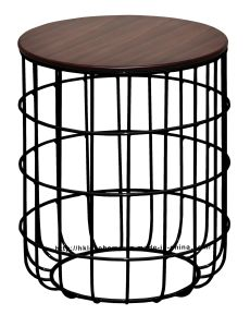 Morden Industrial Dining Coffee Black Metal Wire Wooden Top Table pictures & photos