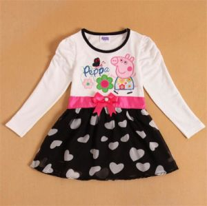 Girls Lovely Heart Printing Long Sleeved Butterfly Belt Lace Dress/Bowlot Lovely Fashion Dress for Girls Kd1622 pictures & photos