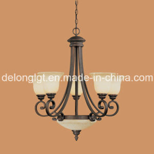 Hot Sale Iron Chandelier Light with Glass Shade (1207RBZ)