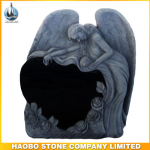 Shanxi Black Angel Headstone with Rose pictures & photos