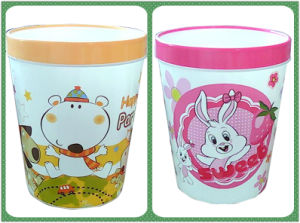 Fashion Cartoon Printing Plastic Waste Bin (FF-0248)
