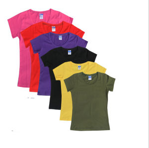 Cheap Customize Logo Personalized Promotional 100%Cotton Women Plain Tees pictures & photos