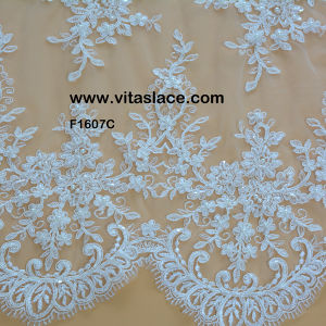 Custom Color Rayon Lace Fabrics From China Factory for Lady Gown F-1607c
