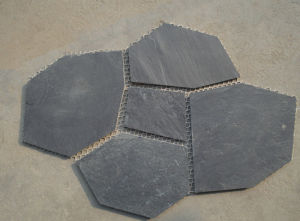 Beige/Rusty/Black/Yellow Irregular Slate with Mesh pictures & photos