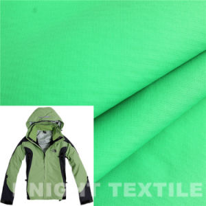 Jacquard Grid Polyester Pongee Fabric in Green