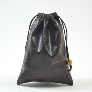 Solid Patterns Leatherette Drawstring Pouches