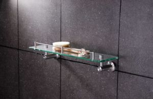 Stainless Steel Bathroom Glass Sanitary Ware Shelf on The Wall