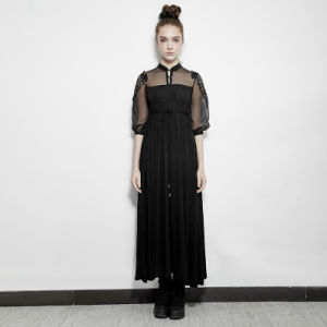 Pq-151 Summer Thin Gothic High Waist Lace Sheer Sleeve Tunic Long Dress with Collar pictures & photos