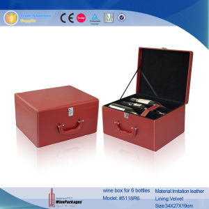 Triangle Single Bottle Classical Custom Leather Wine Box (6503R1) pictures & photos